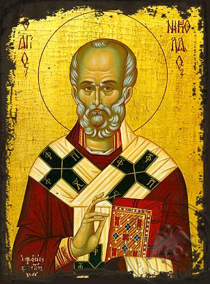 Saint Nicholas, Archbishop of Myra in Lycia - Aged Byzantine Icon
