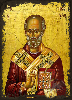 Saint Nicholas, Archbishop of Myra in Lycia - Aged Byzantine Icon