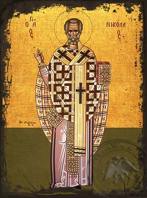 Saint Nicholas, Archbishop of Myra in Lycia, Full Body - Aged Byzantine Icon