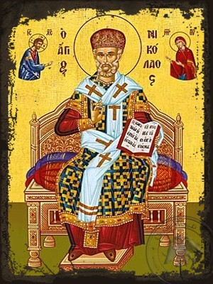 Saint Nicholas Archbishop of Myra in Lycia Enthroned with Miter - Aged Byzantine Icon