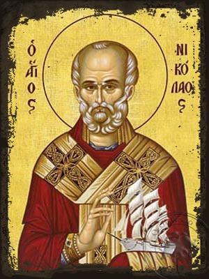 Saint Nicholas Archbishop of Myra in Lycia with Vessel - Aged Byzantine Icon