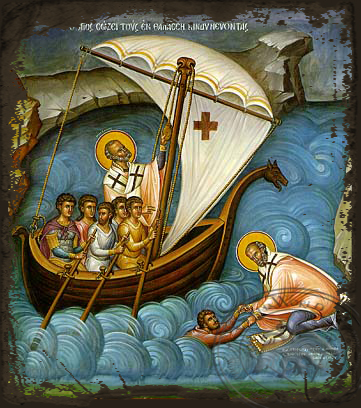 Saint Nicholas, Help of Mariners - Aged Byzantine Icon