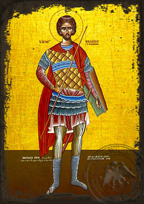 Saint Nicholas, the New Martyr of Vounena, Greece, Full Body - Aged Byzantine Icon