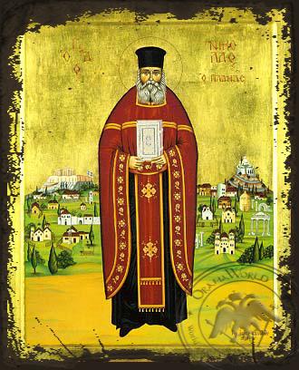 Saint Nicholas Planas, Priest in Athens, Greece, Full Body - Aged Byzantine Icon