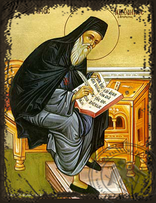 Saint Nicodemus of Mount Athos, Spiritual Writer, Full Body - Aged Byzantine Icon