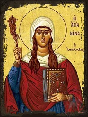 Saint Nina Equal-to-the-Apostles Enlighter of Georgia - Aged Byzantine Icon