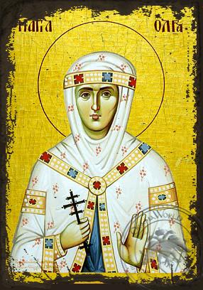 Saint Olga - Aged Byzantine Icon