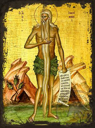 Saint Onouphrios - Aged Byzantine Icon