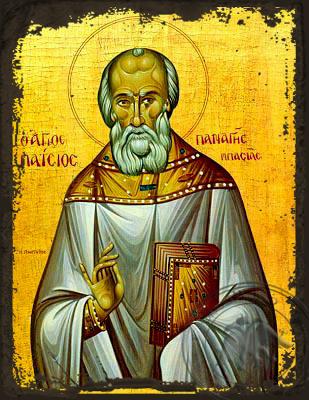 Saint Panages Basias, of Kephallenia, Greece - Aged Byzantine Icon