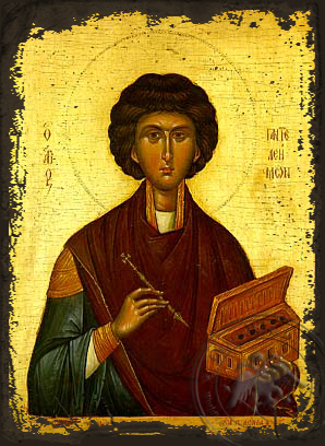 Saint Panteleimon, the Great Martyr - Aged Byzantine Icon