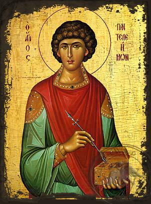 Saint Panteleemon - Aged Byzantine Icon
