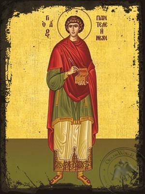 Saint Panteleimon the Great Martyr Full Body - Aged Byzantine Icon