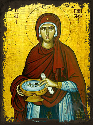 Saint Parasceve, the Great Martyr, of Rome - Aged Byzantine Icon