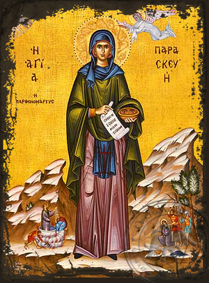 Saint Parasceve, the Great Martyr, of Rome, with Scenes from Her Life, Full Body - Aged Byzantine Icon