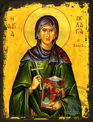 Saint Pelagia Of Tinos - Aged Byzantine Icon