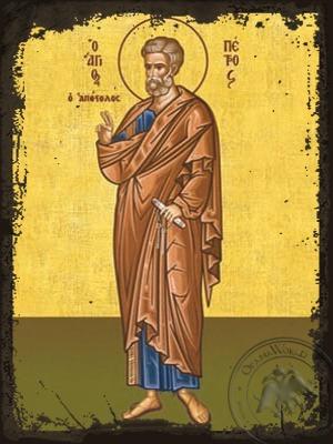 Saint Peter the Apostle Full Body - Aged Byzantine Icon