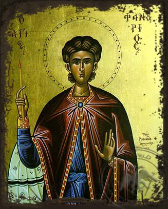 Saint Phanurius, the Great Martyr - Aged Byzantine Icon