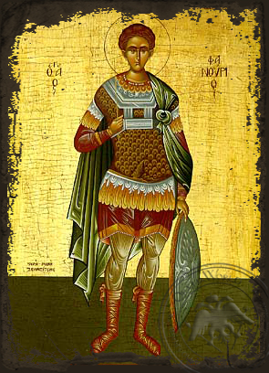 Saint Phanurius, the Great Martyr, Full Body - Aged Byzantine Icon