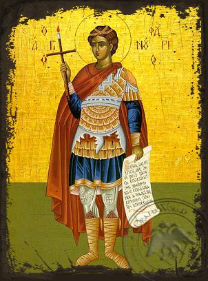 Saint Phanurius, the Great Martyr, Full Body - Aged Byzantine Icon