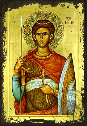 Saint Phanurius, the Great Martyr - Aged Byzantine Icon