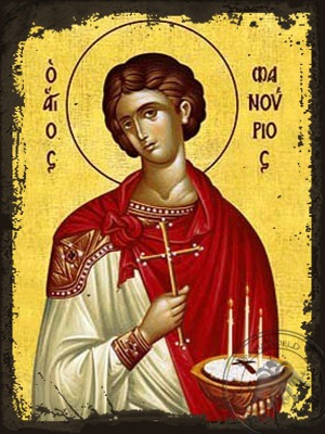 Saint Phanurius the Great Martyr with Pie - Aged Byzantine Icon