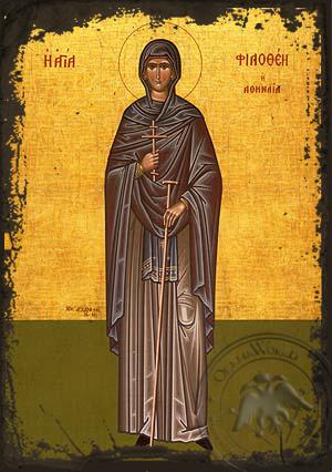 Saint Philothea, Nun-Martyr, of Athens, Greece, Full Body - Aged Byzantine Icon