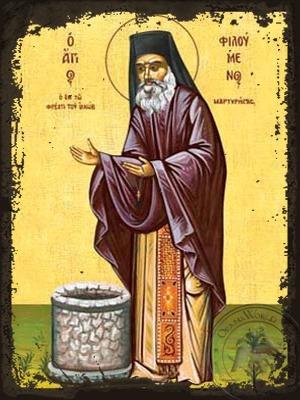 Saint Philoumenos at Jacob'S Well Full Body - Aged Byzantine Icon