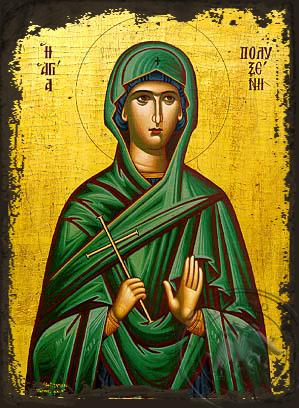 Saint Polyxene - Aged Byzantine Icon