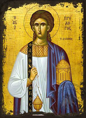 Saint Prochorus the Apostle and Deacon - Aged Byzantine Icon