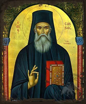 Saint Sabbas, the New, of Kalymnos, Greece - Aged Byzantine Icon