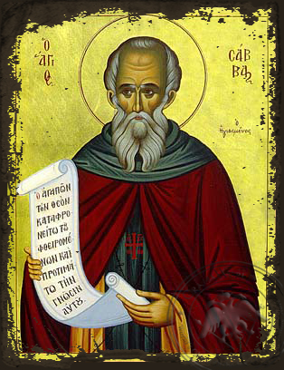 Saint Sabbas, the Sanctified - Aged Byzantine Icon