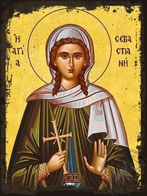 Saint Sebastiane Martyr - Aged Byzantine Icon