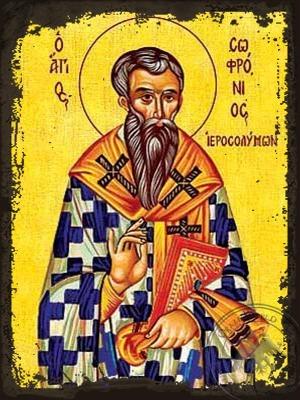 Saint Sofronios Archbishop of Jerusalem - Aged Byzantine Icon