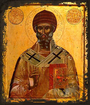 Saint Spyridon, Bishop of Tremithon, Cyprus - Aged Byzantine Icon