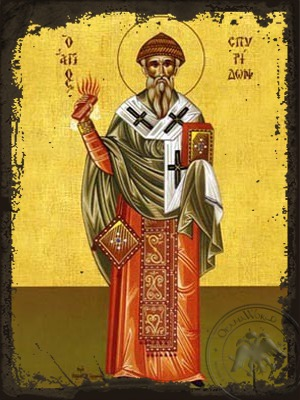 Saint Spyridon Bishop of Tremithon Cyprus Full Body - Aged Byzantine Icon