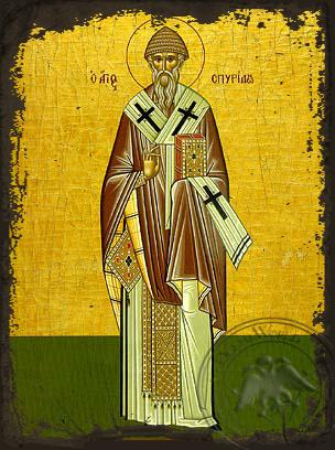 Saint Spyridon, Bishop of Tremithon, Cyprus, Full Body - Aged Byzantine Icon