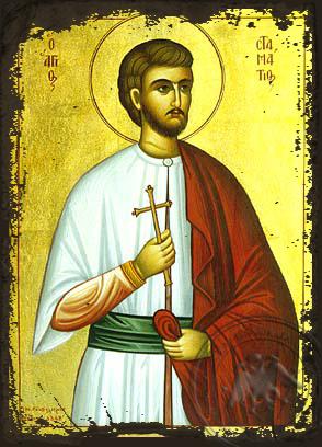 Saint Stamatios - Aged Byzantine Icon