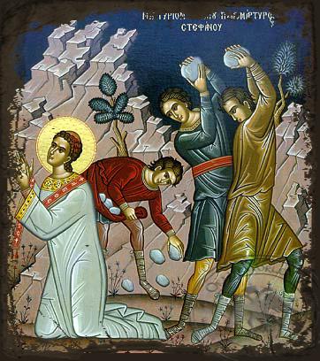 Saint Stephen, the First Martyr: The Martyrdom - Aged Byzantine Icon