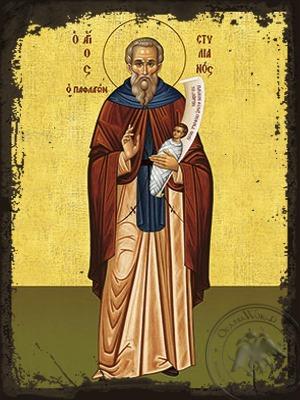 Saint Stylianos of Paphlagonia Full Body - Aged Byzantine Icon