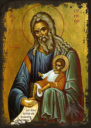 Saint Symeon, the God-Receiver - Aged Byzantine Icon