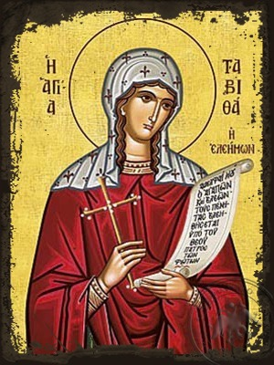 Saint Tabetha the Widow Raised From the Dead by the Apostle Peter - Aged Byzantine Icon