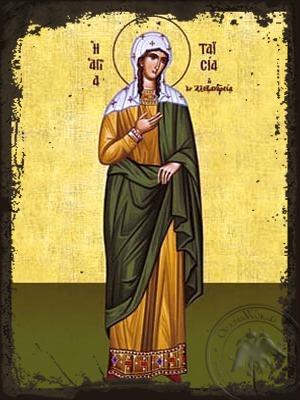 Saint Taisia or Thais of Alexandria Egypt Full Body - Aged Byzantine Icon