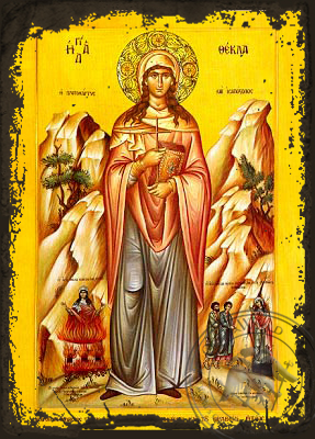 Saint Thecla, First Woman Martyr and Equal-To-The-Apostles, of Iconium, Full Body - Aged Byzantine Icon