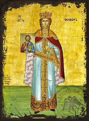 Saint Theodora the Empress of Byzantium - Aged Byzantine Icon