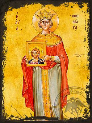 Saint Theodora, the Emperess of byzantium - Aged Byzantine Icon