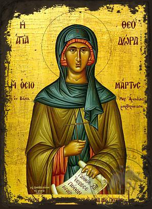 Saint Theodora of Vasta - Aged Byzantine Icon