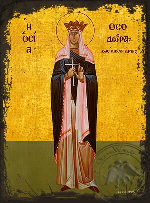 Saint Theodora, Queen of Arta, Greece, Full Body - Aged Byzantine Icon