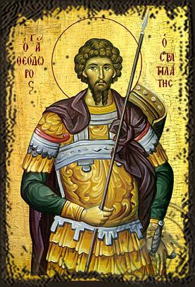 Saint Theodore the Stratelates - Aged Byzantine Icon