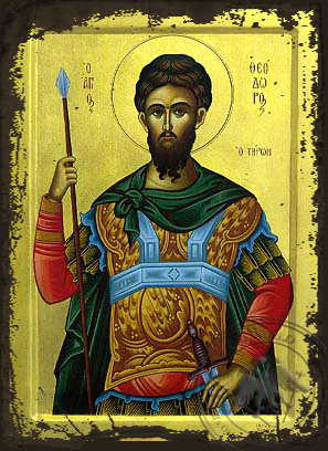 Saint Theodore the Great Martyr, Tyro - Aged Byzantine Icon