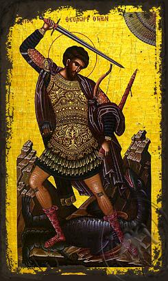 Saint Theodore the Great Martyr, Tyro, Full Body - Aged Byzantine Icon